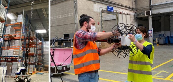Un robot, un mât et un drone pour l'inventaire de stock de palettes